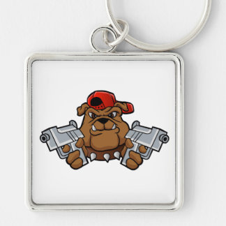 gangster bulldog  with pistols Silver-Colored square keychain