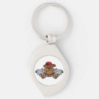 gangster bulldog  with pistols Silver-Colored swirl keychain