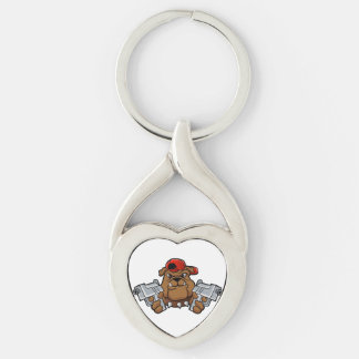 gangster bulldog  with pistols Silver-Colored twisted heart keychain