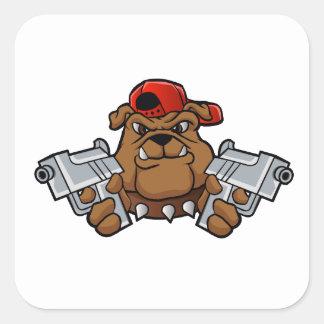 gangster bulldog  with pistols square sticker