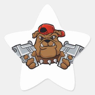 gangster bulldog  with pistols star sticker