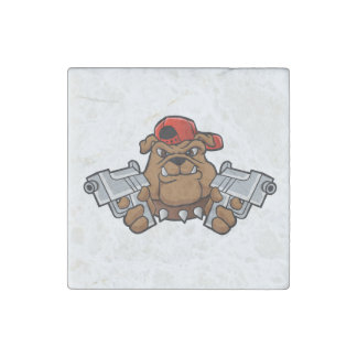 gangster bulldog  with pistols stone magnets
