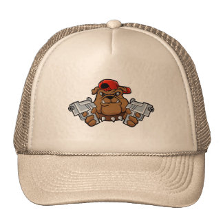 gangster bulldog  with pistols trucker hat