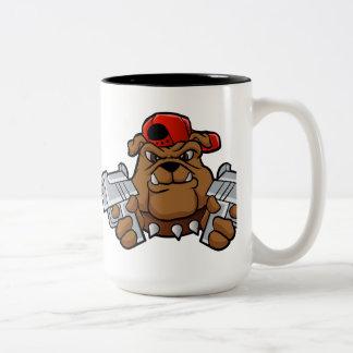 gangster bulldog  with pistols Two-Tone coffee mug
