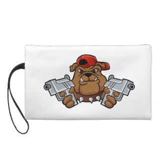 gangster bulldog  with pistols wristlet purses