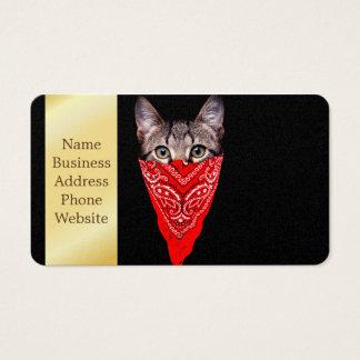 gangster cat - bandana cat - cat gang business card