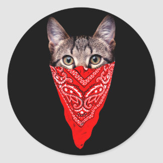 gangster cat - bandana cat - cat gang classic round sticker