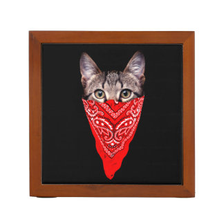gangster cat - bandana cat - cat gang desk organizer