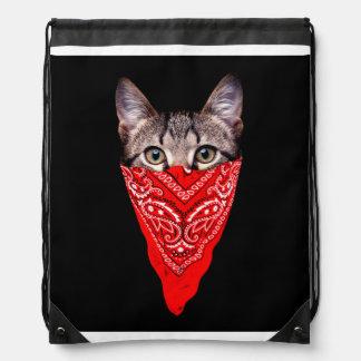 gangster cat - bandana cat - cat gang drawstring bag