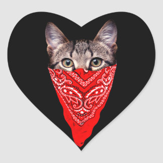 gangster cat - bandana cat - cat gang heart sticker