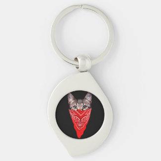 gangster cat - bandana cat - cat gang keychain