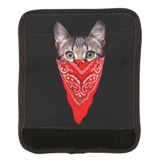 gangster cat - bandana cat - cat gang luggage handle wrap