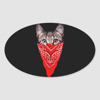 gangster cat - bandana cat - cat gang oval sticker