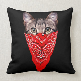 gangster cat - bandana cat - cat gang throw pillow