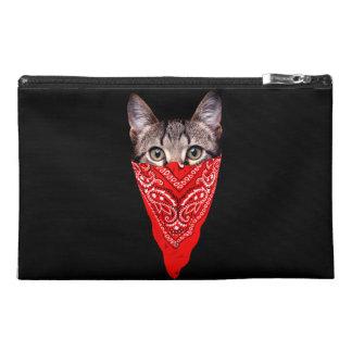 gangster cat - bandana cat - cat gang travel accessory bag
