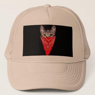 gangster cat - bandana cat - cat gang trucker hat