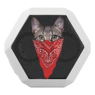 gangster cat - bandana cat - cat gang white bluetooth speaker