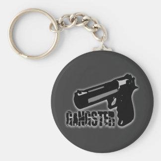 Gangster Gun Basic Round Button Keychain