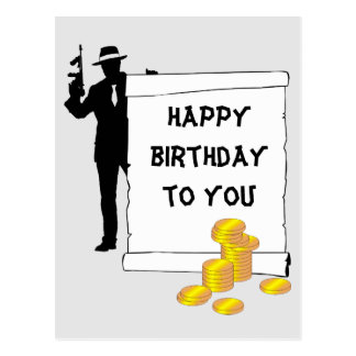 Gangster- Happy Birthday funny, customizable Postcard