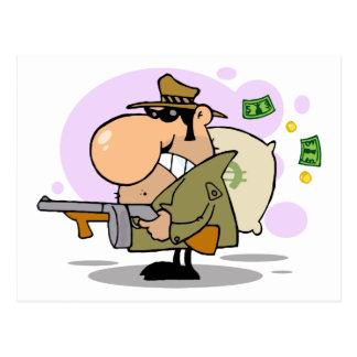 Gangster Holding Gun And Money Bag Postcard