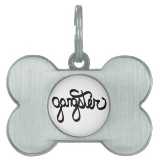 gangster-typography pet tag