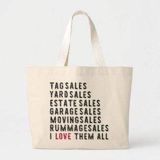 Garage Rummage Tag Yard Estate Moving Sale Lover Large Tote Bag