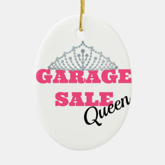 Garage Sale Queen Line Ceramic Oval Ornament