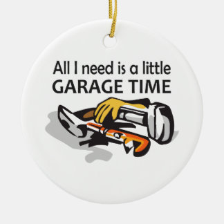 GARAGE TIME ROUND CERAMIC ORNAMENT