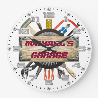 Garage Tools Man Cave Personalizable Retro-Style Wall Clock