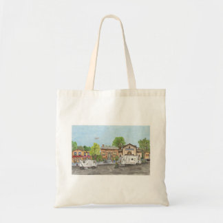 Garbage truck and street sweeper clean up the city tote bag