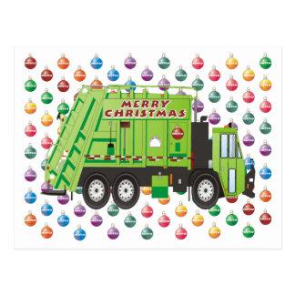 Garbage Truck Christmas Postcard
