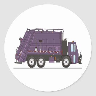 Garbage Truck Round Sticker