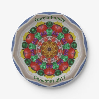 GARCIA FAMILY ~ Personalized Christmas Fractal ~ Paper Plate