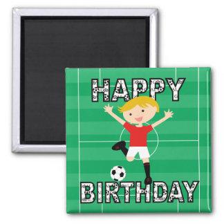 Garçon 1 d'anniversaire du football rouge et blanc magnet carré