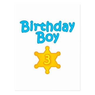 Garçon 3 d'anniversaire de shérif carte postale