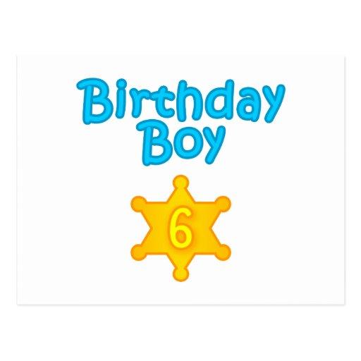 Garçon 6 d'anniversaire de shérif carte postale