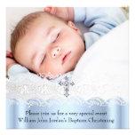 Garçon blanc bleu de croix de bijou de photo de de invitation personnalisable