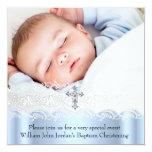 Garçon blanc bleu de croix de bijou de photo de invitation personnalisable