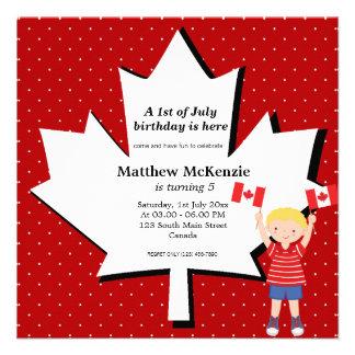Garçon canadien d anniversaire faire-part