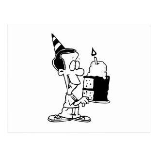 Garçon d'anniversaire avec le gâteau cartes postales