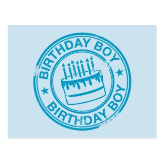 Garçon d'anniversaire - effet bleu de tampon en ca carte postale