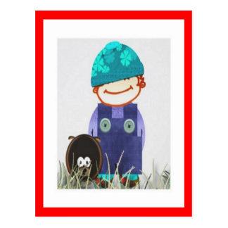 Garçon d'anniversaire et son chien cartes postales