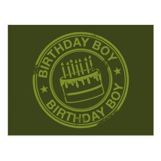 Garçon d'anniversaire - vert d'effet de tampon en  carte postale