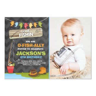 Garçon de partie de pêche d'invitation carton d'invitation  12,7 cm x 17,78 cm