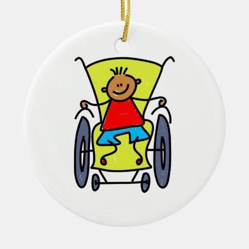 Garçon handicapé ornements de noël