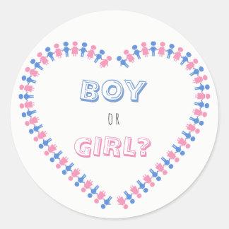 Garçon ou fille ? Le genre de bébé rose et bleu Sticker Rond