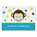 Garçon plié par singe de cartes de note de Merci d
