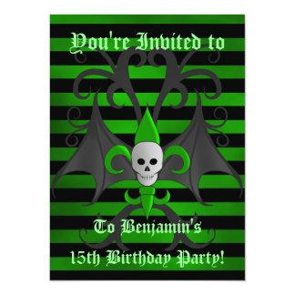 Garçon punk mignon d'ado de fête d'anniversaire de carton d'invitation  13,97 cm x 19,05 cm