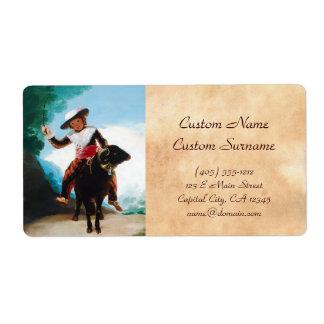 Garçon sur une RAM Francisco José de Goya Étiquette D'expédition