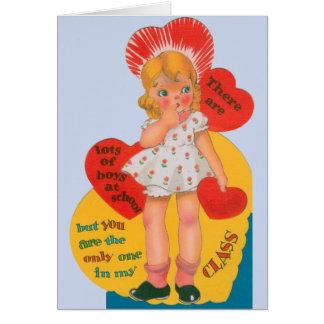 Garçon vintage dans ma classe Valentine Carte De Vœux